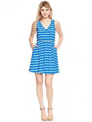 printed-v-neck-dress-blue-stripe